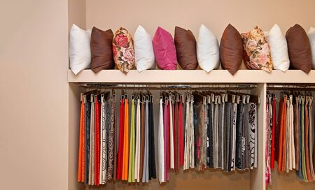 Collection of interior decorative pillows and upholstery textile