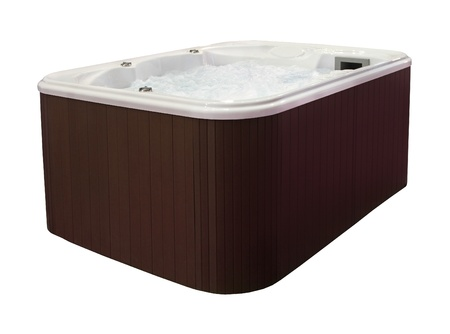 Large hot tub with brown edge isolated with clipping path Stock Photo