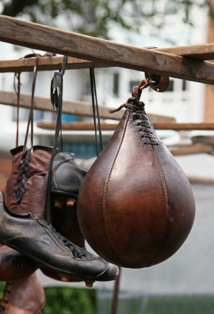 Vintage sports equipment on old street market Stock Photo
