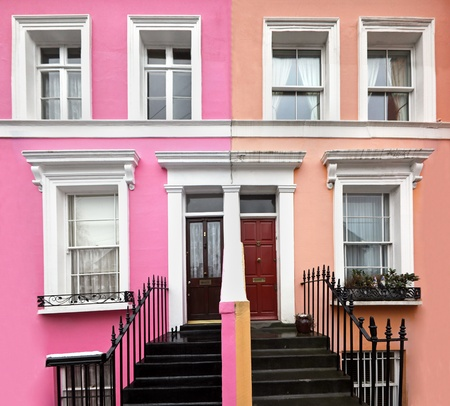 London residential architecture houses with colorful facade