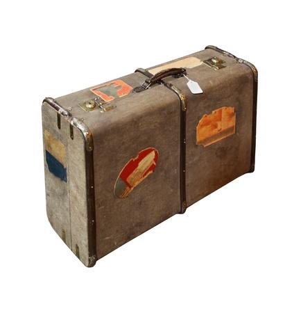 Kırpma yolu ile izole Retro seyahat çantası bavul dahil