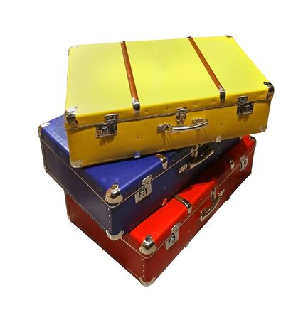 Colorful retro suitcases isolated with clipping path included