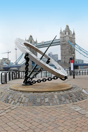 Famous London landmark on Thames river with sun clock Stok Fotoğraf
