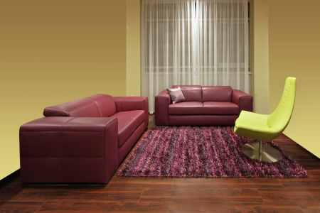 Living room inter with dark red leather furniture Stock Photo - 20485790