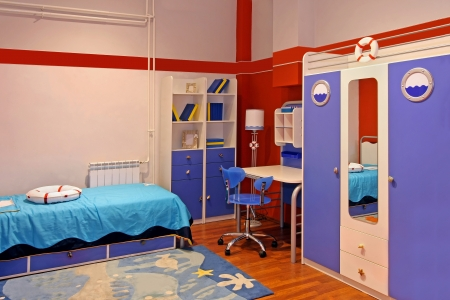 Child room interior with marine theme Stok Fotoğraf