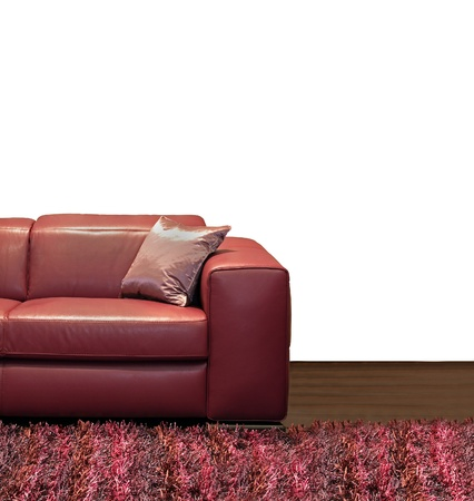 Dark leather sofa with silk pillow in corner Stock Photo - 21232767