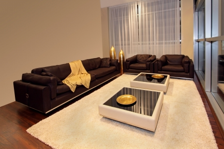 Modern living room inter with large leather sofa Stock Photo - 21622617