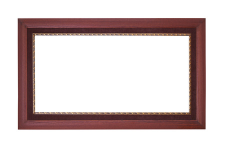 Wooden frame with thin gold border isolated photo