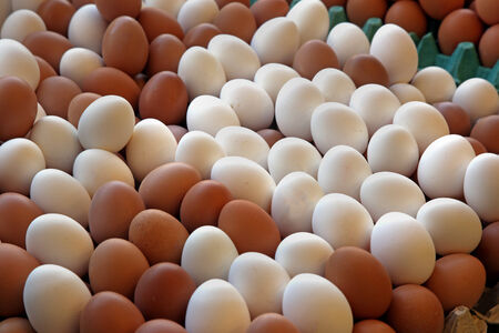 Big pile of organic free range chicken eggs