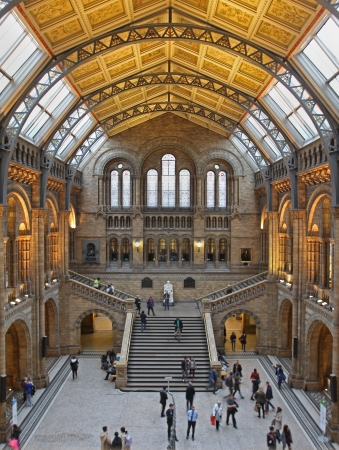 London, United Kingdom - November 18, 2013; Long exposure shot of Natural History Museum interior in London with tourists walking around