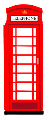 phonebooth: Red British phone booth Illustration