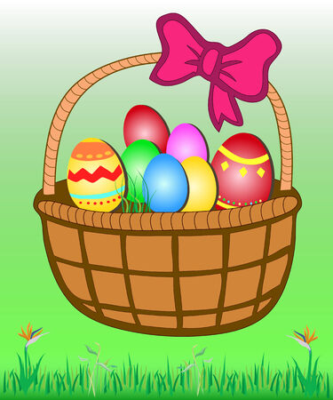 rattan: Rattan Easter basket full of colorful eggs on green grass