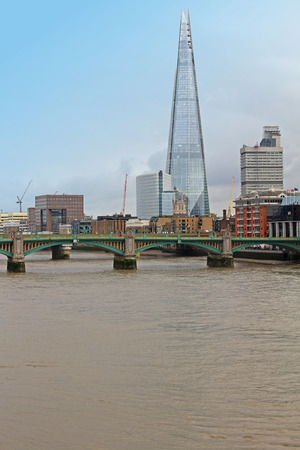 southward: London cityscape with Southward bridge and Shard building  Editorial