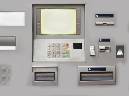 bankomat: Closeup of modern bank cash machine with electronic display