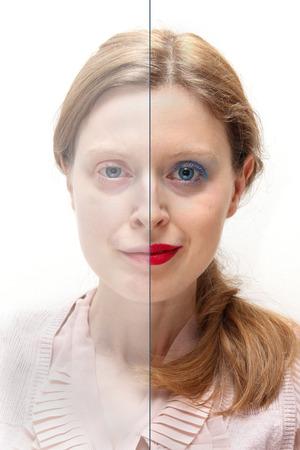 half and half: Mujer joven con la mitad de la cara cubierta con maquillaje y la otra mitad sin