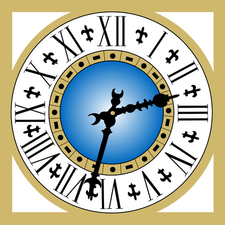 romeinse cijfers: Oude vintage klok met Romeinse cijfers en gouden frame