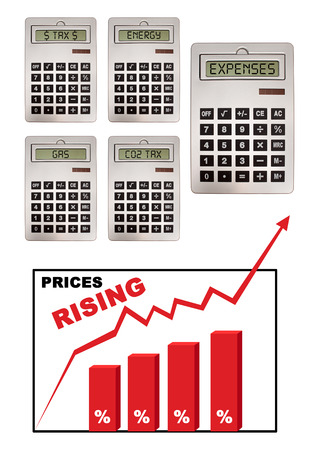 global economic crisis: Chart illustrating global economic crisis with prices inflation Stock Photo