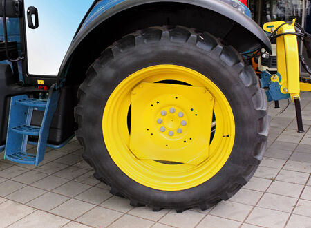 agriculture machinery: Big tire on agriculture tractor machinery truck