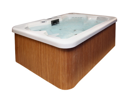 hot tub: Modern hot tub with wooden frame isolated with clipping path included