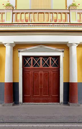 large doors: Large wooden entrance door on old building