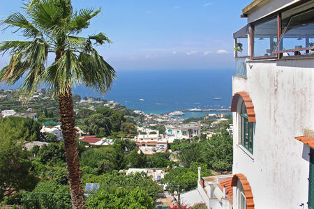 View from top of the hill on Capri island towards sea coast photo
