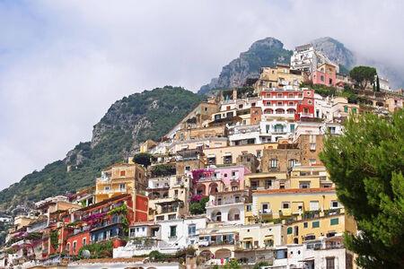 positano: Colorful houses architecture in famous Positano on Amalfi coast