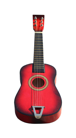 Retro akustik gitar yolu dahil kırpma ile izole Stock Photo