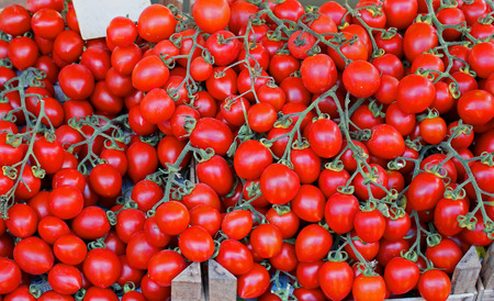 sold small: Small red cherry tomatoes pile sold on market Stock Photo