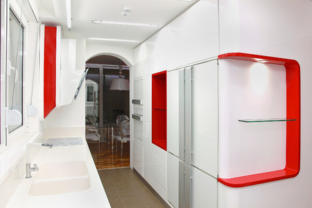 contemporary kitchen: Modern white kitchen interior with contemporary appliances Stock Photo