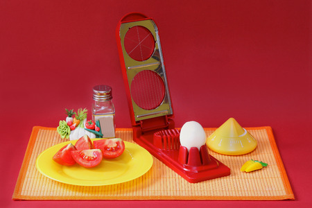 rattan mat: Breakfast served on rattan table mat with boiled egg cutter