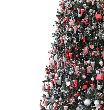 tree detail: Christmas tree detail with stripe pattern ornaments Stock Photo