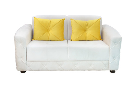 White Leather Sofa With Yellow Decorative Pillows Isolated With Delectable Yellow Decorative Bed Pillows