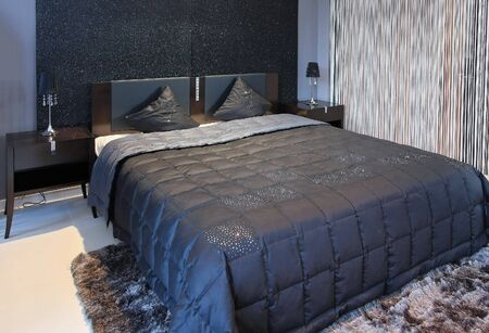 Modern Bedroom Interior With Sparkling Black Wall And Double Bad Photo