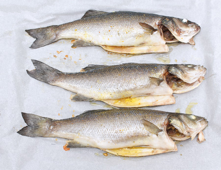 bream: Freshly prepared seabass and sea bream with parsley and garlic