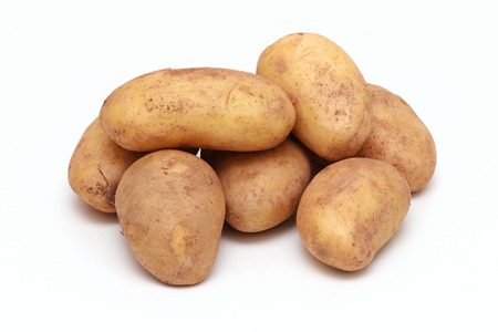 Organic white potatoes pile on white background