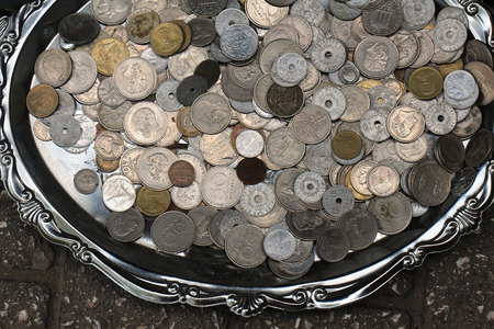 silver coins: Old silver coins pile at flea market Stock Photo