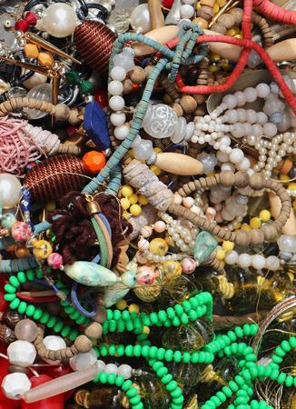 bijoux: Large pile of tangled vintage bijoux jewellery Stock Photo