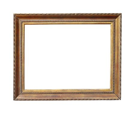 retro vintage: Old wooden frame isolated with clipping path included Stock Photo