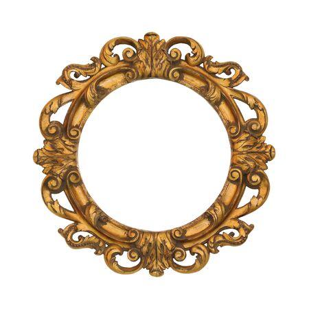 an oval: Marco oval de estilo barroco de oro aislado con trazado de recorte incluidos Foto de archivo