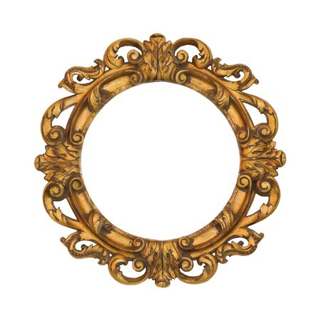 baroque: Oval golden baroque style frame isolated with clipping path included Stock Photo
