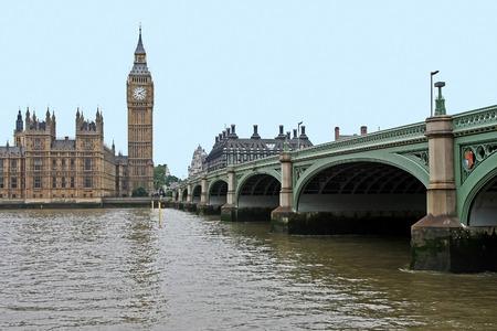big ben tower: Famous London landmark Big Ben tower with Westminster bridge