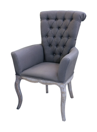 Vintage gray chair isolated with clipping path included Stock Photo