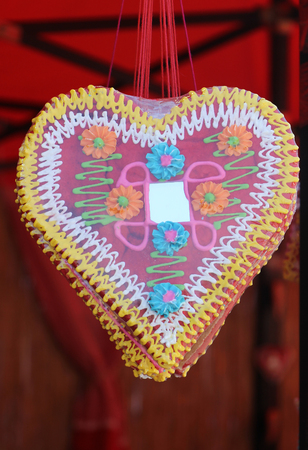 gingerbread heart: Gingerbread heart decoration sold on carnival fair