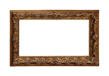 marcos decorativos: Decorative golden frame isolated with clipping path included Foto de archivo