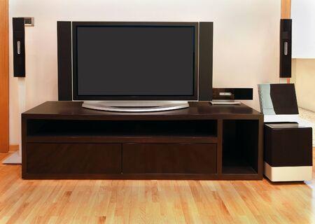 big screen tv: Large screen TV inside modern room interior