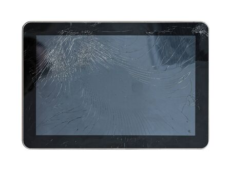 cracked glass: Cracked glass display on large computer tablet