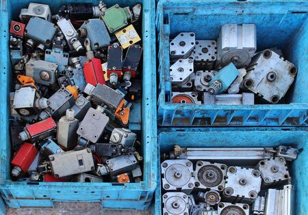 sold small: Old second hand small actuators pile sold on flea market