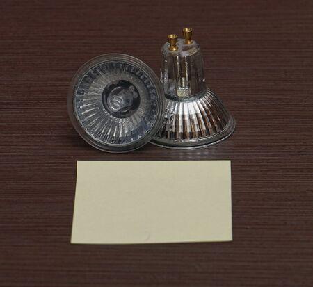 lamp light: Halogen light bulb lamp on wooden background