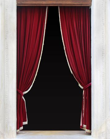 Red Velvet Curtains On Entrance Door Sides Stock Photo   53028082