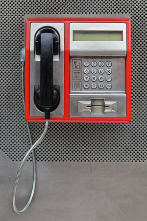 pay phone: Public pay phone with card slot access Stock Photo